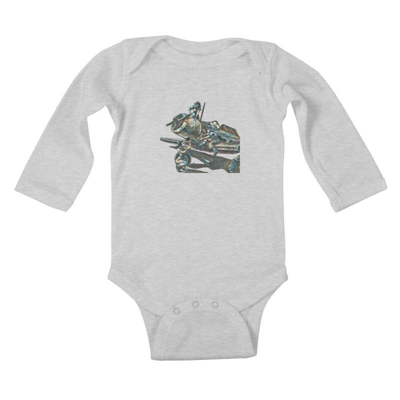 Navy Gals Kids Baby Longsleeve Bodysuit by Clare Bohning's Shop