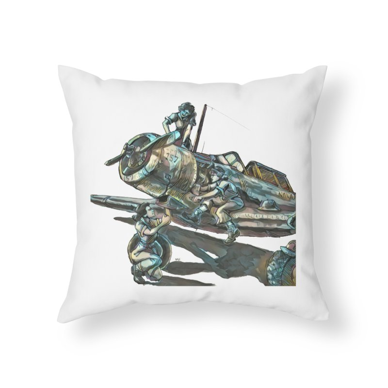 Navy Gals Home Throw Pillow by Clare Bohning's Shop