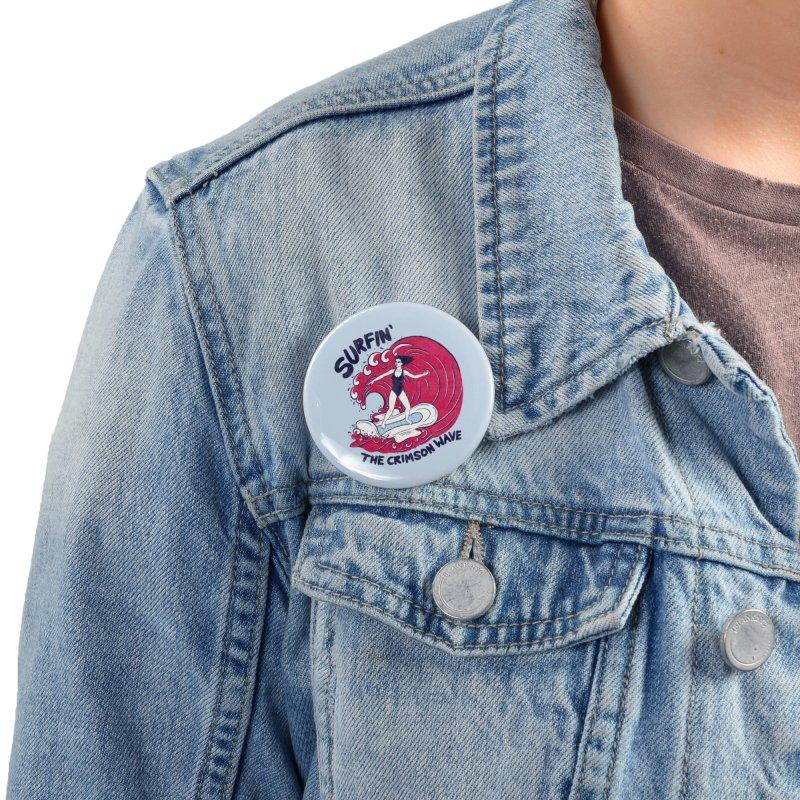 Surfin' The Crimson Wave Accessories Button by classycreeps's Artist Shop