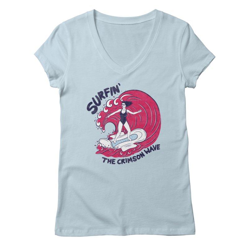 Surfin' The Crimson Wave Women's V-Neck by classycreeps's Artist Shop