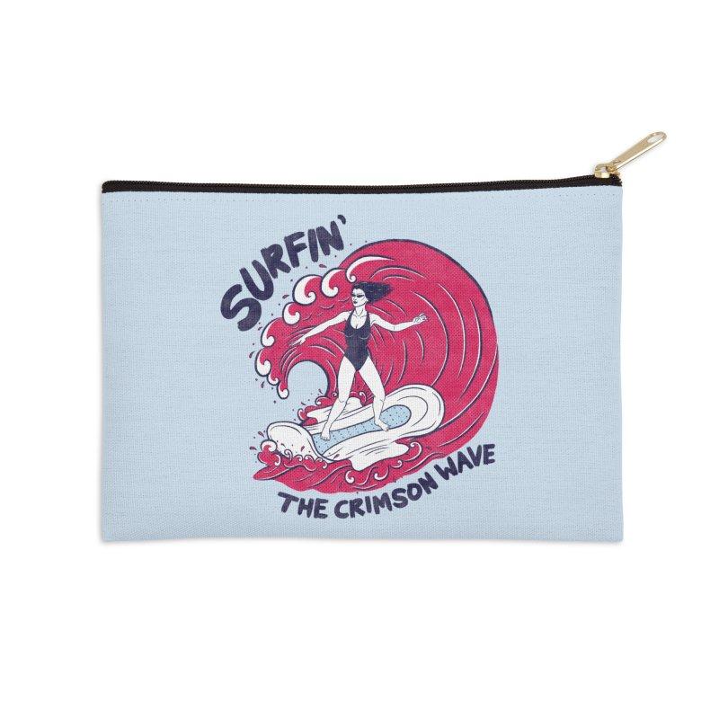 Surfin' The Crimson Wave Accessories Zip Pouch by classycreeps's Artist Shop