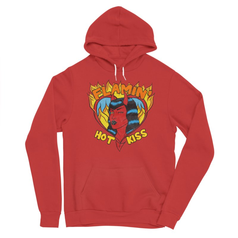 Flamin' Hot Kiss Men's Pullover Hoody by classycreeps's Artist Shop
