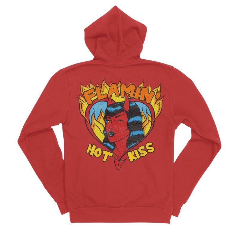 Flamin' Hot Kiss Women's Zip-Up Hoody by classycreeps's Artist Shop