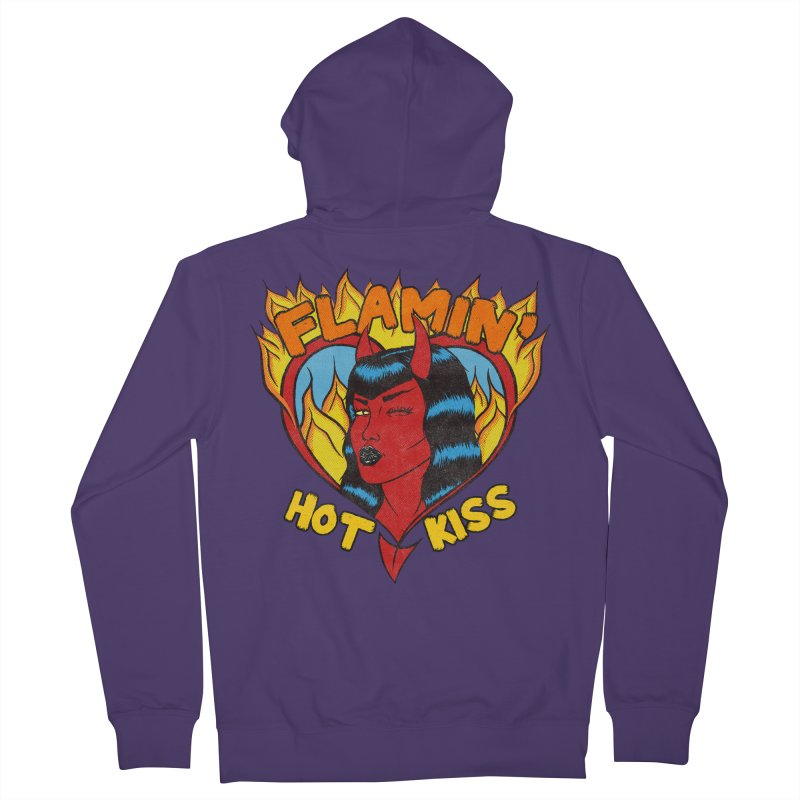 Flamin' Hot Kiss Women's Zip-Up Hoody by classycreeps's Artist Shop