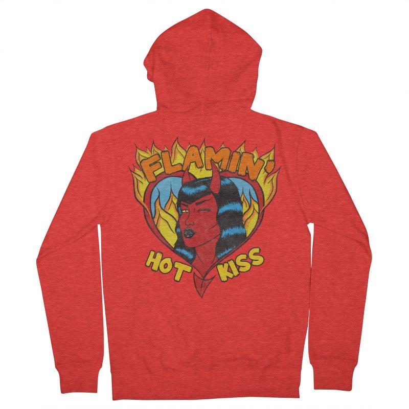Flamin' Hot Kiss Men's Zip-Up Hoody by classycreeps's Artist Shop
