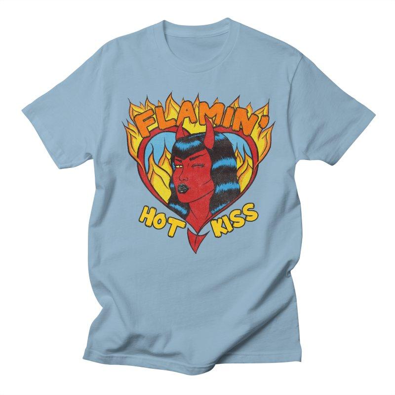Flamin' Hot Kiss Men's T-Shirt by classycreeps's Artist Shop