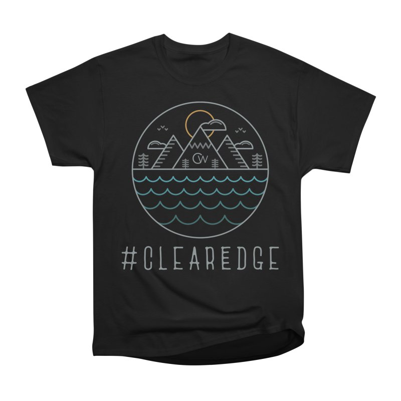 Color Clear Edge Waves Dark Clothing  Men's Heavyweight T-Shirt by Clearwater Chiropractic Gear