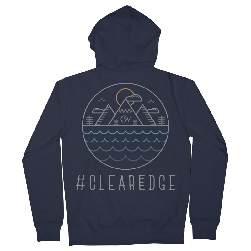 Color Clear Edge Waves Dark Clothing  Men's French Terry Zip-Up Hoody by Clearwater Chiropractic Gear
