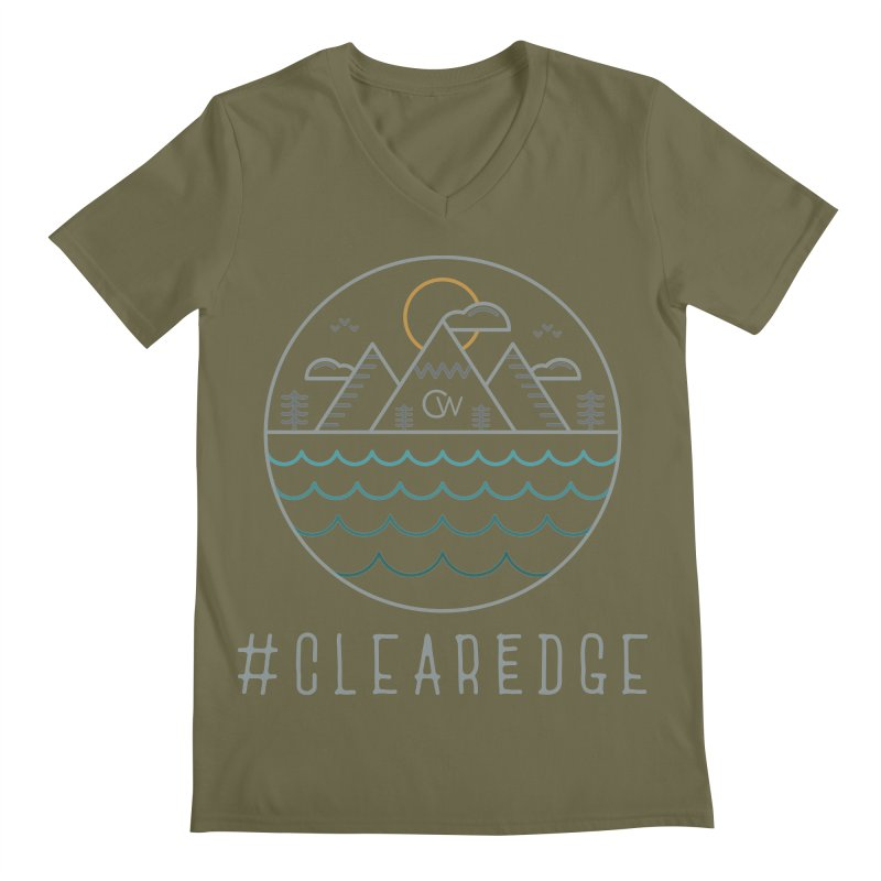 Color Clear Edge Waves Dark Clothing  Men's V-Neck by Clearwater Chiropractic Gear