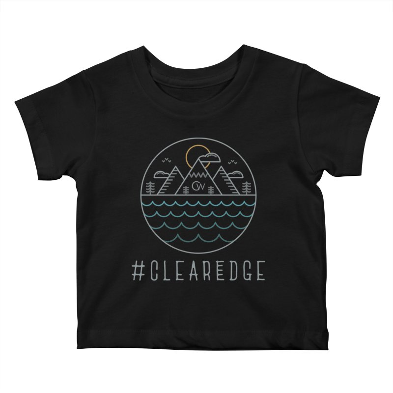 Color Clear Edge Waves Dark Clothing  Kids Baby T-Shirt by Clearwater Chiropractic Gear