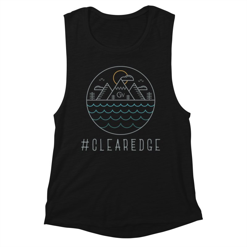 Color Clear Edge Waves Dark Clothing  Women's Tank by Clearwater Chiropractic Gear