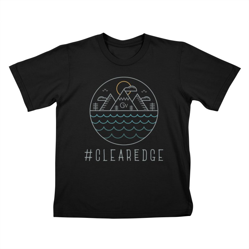 Color Clear Edge Waves Dark Clothing  Kids T-Shirt by Clearwater Chiropractic Gear
