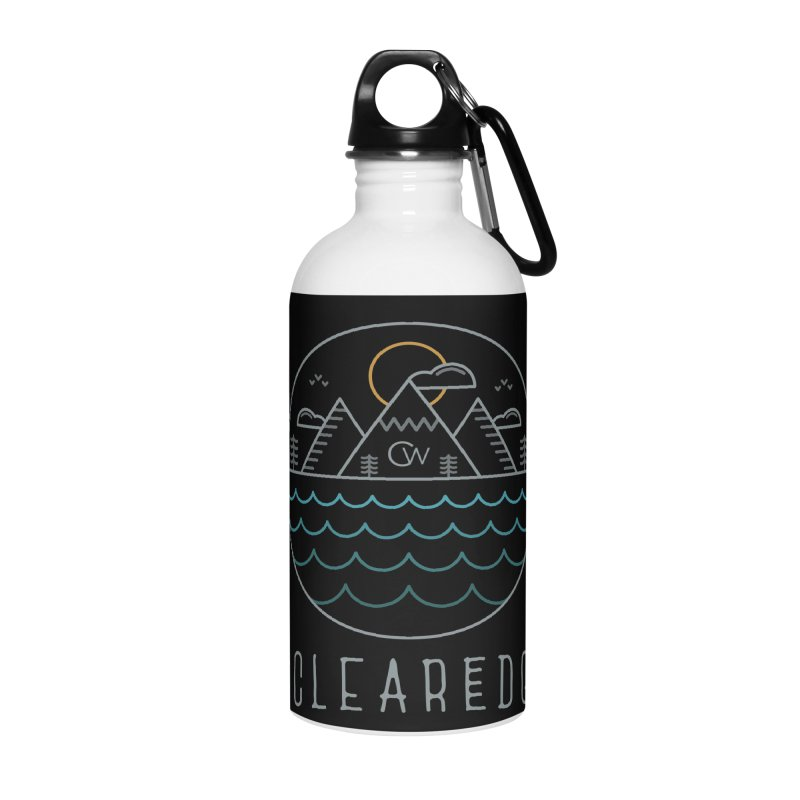Color Clear Edge Waves Dark Clothing  Accessories Water Bottle by Clearwater Chiropractic Gear