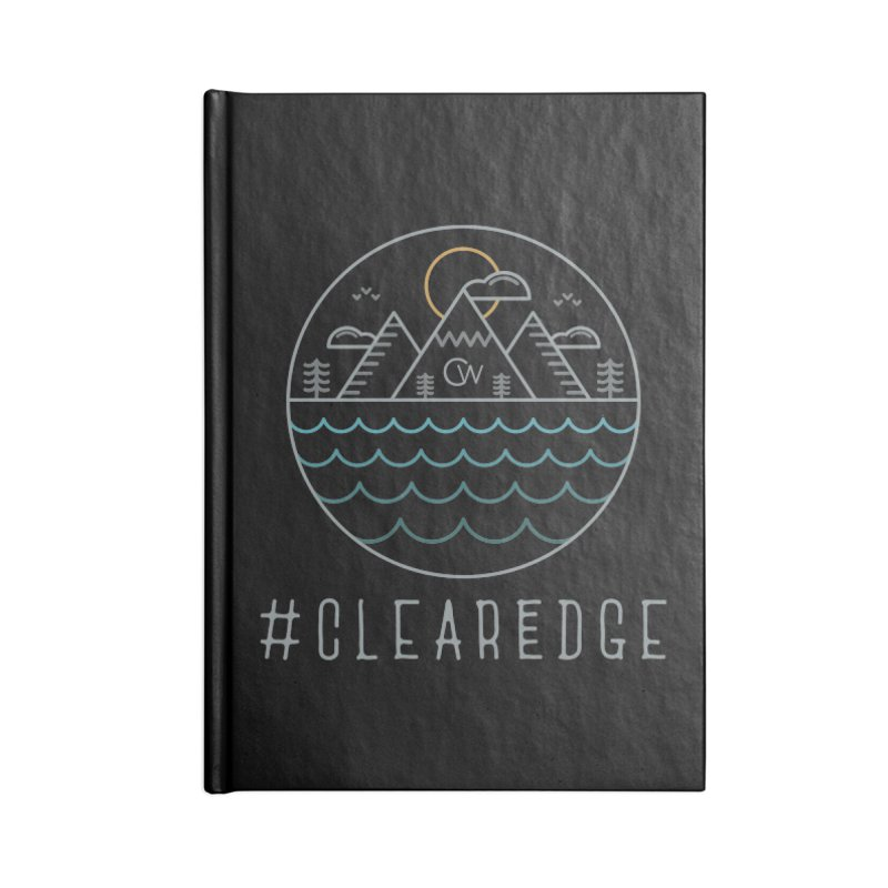 Color Clear Edge Waves Dark Clothing  Accessories Blank Journal Notebook by Clearwater Chiropractic Gear