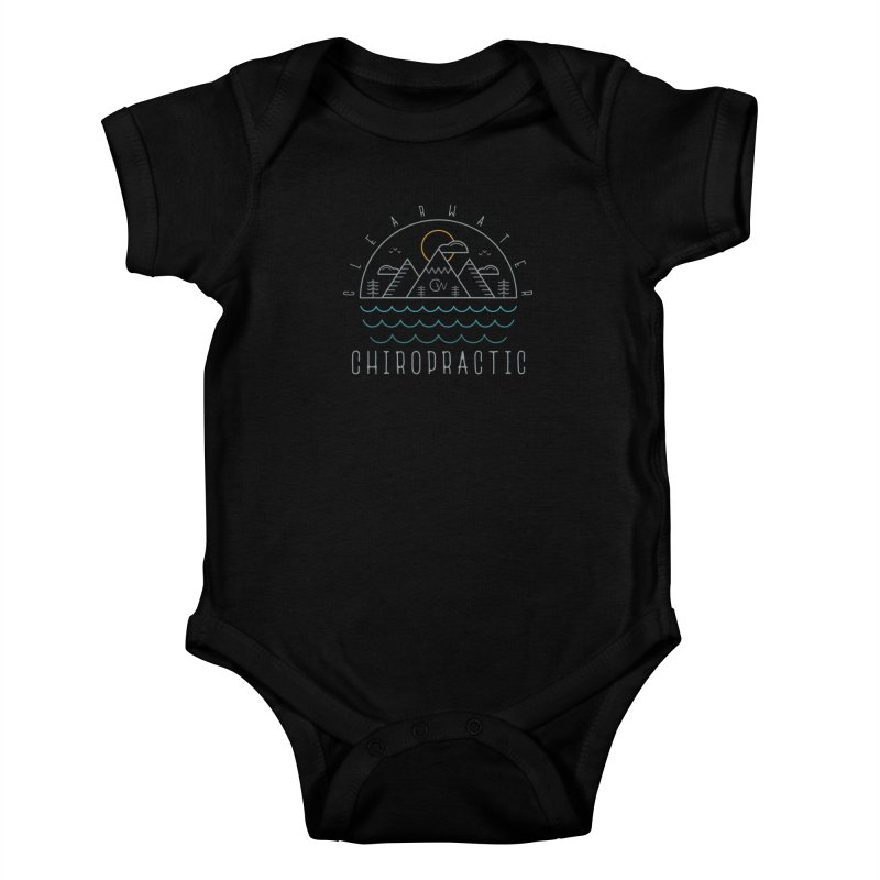 Color Clearwater Chiro Waves Dark Clothing  Kids Baby Bodysuit by Clearwater Chiropractic Gear