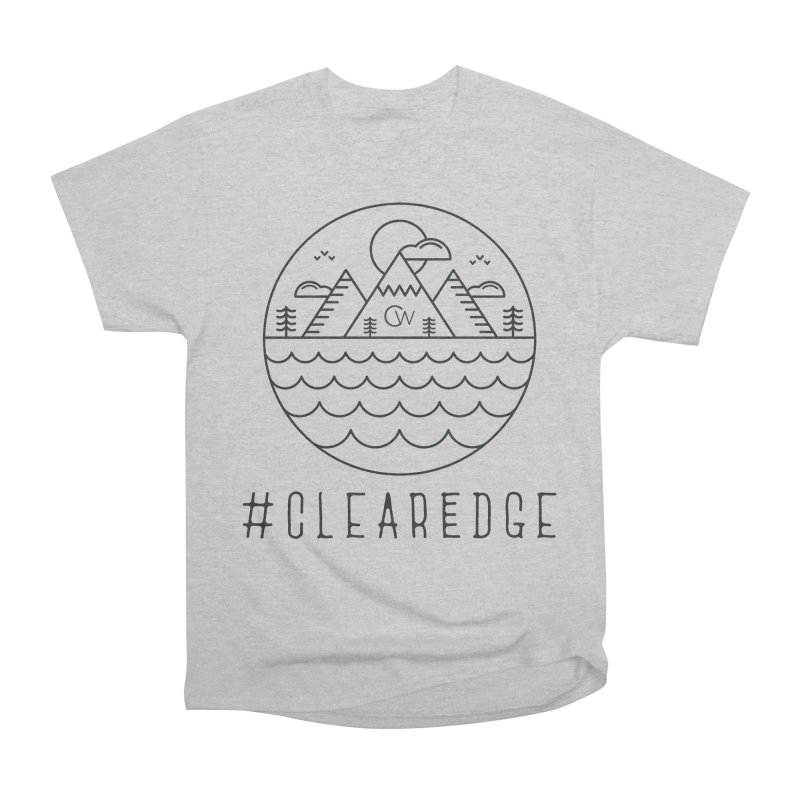 Black Clear Edge Waves Light Clothing  Men's Heavyweight T-Shirt by Clearwater Chiropractic Gear