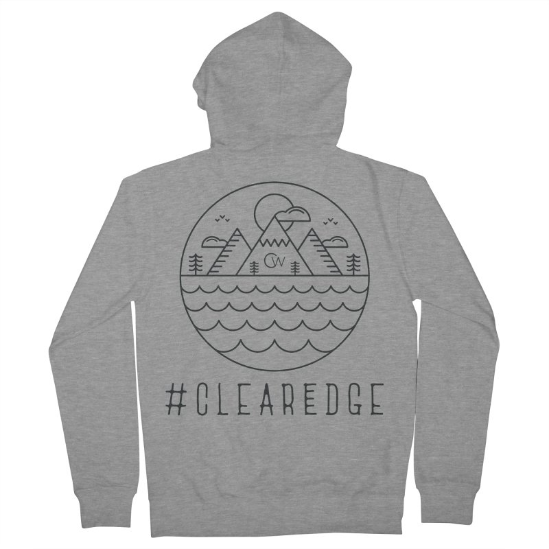 Black Clear Edge Waves Light Clothing  Men's French Terry Zip-Up Hoody by Clearwater Chiropractic Gear