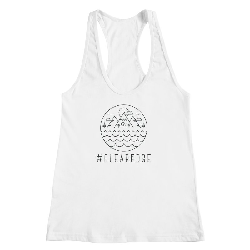 Black Clear Edge Waves Light Clothing  Women's Racerback Tank by Clearwater Chiropractic Gear