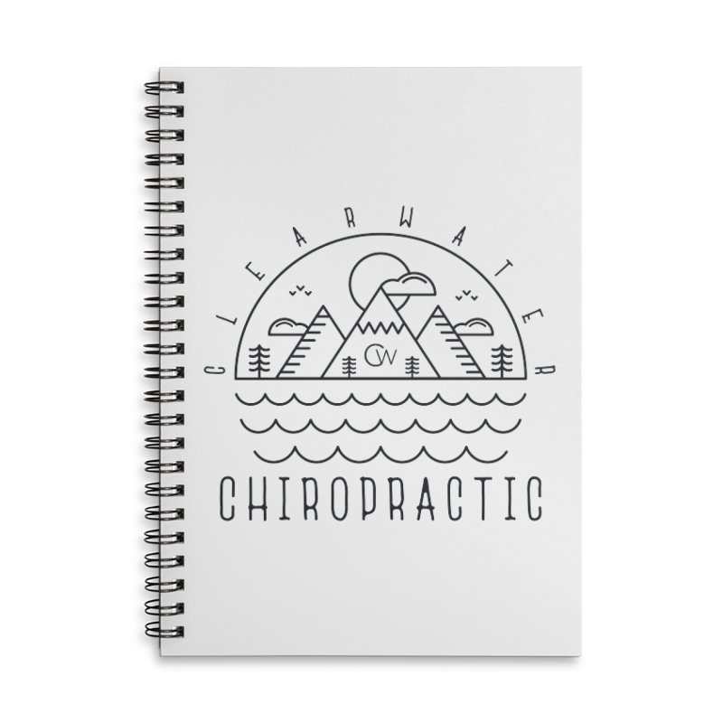 Black Clearwater Chiro Waves Light Clothing  Accessories Lined Spiral Notebook by Clearwater Chiropractic Gear