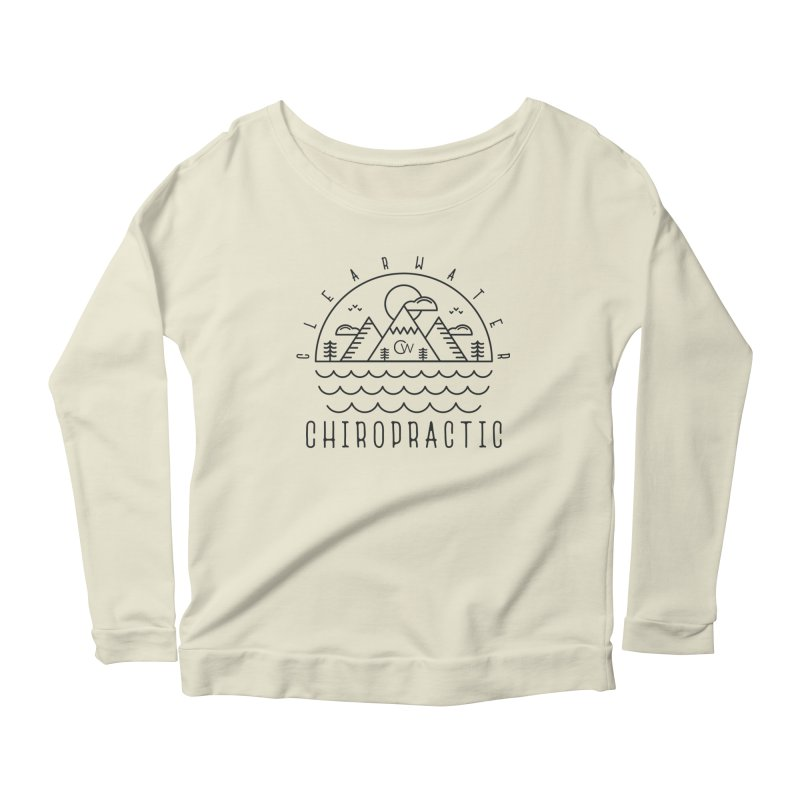 Black Clearwater Chiro Waves Light Clothing  Women's Scoop Neck Longsleeve T-Shirt by Clearwater Chiropractic Gear