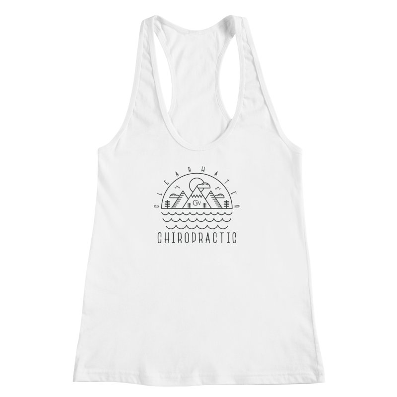 Black Clearwater Chiro Waves Light Clothing  Women's Racerback Tank by Clearwater Chiropractic Gear