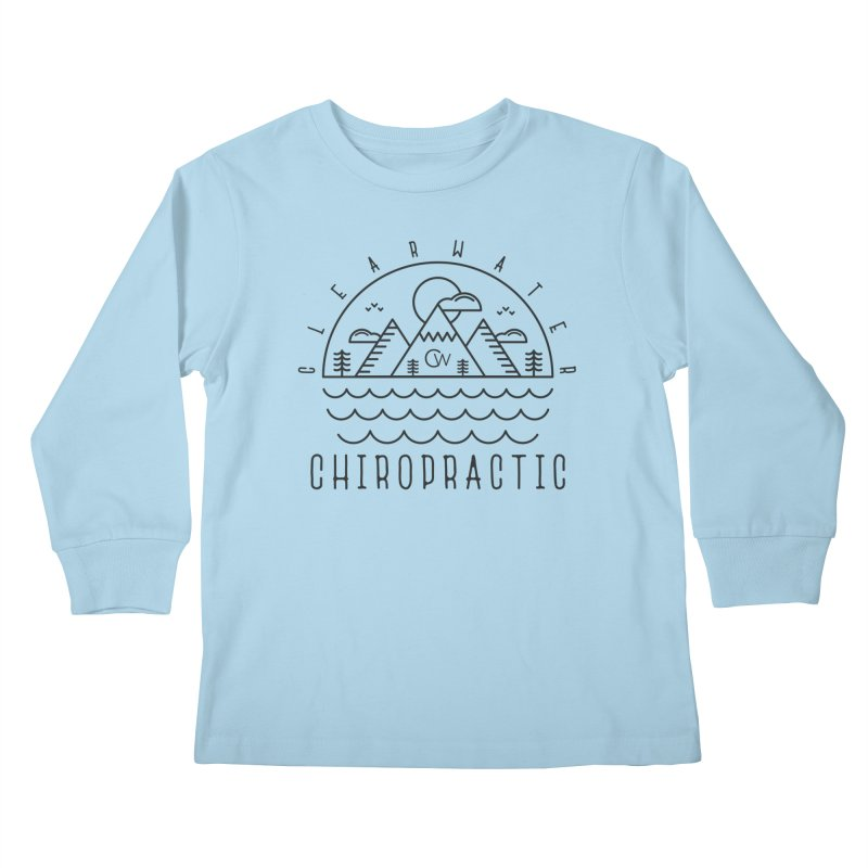 Black Clearwater Chiro Waves Light Clothing  Kids Longsleeve T-Shirt by Clearwater Chiropractic Gear