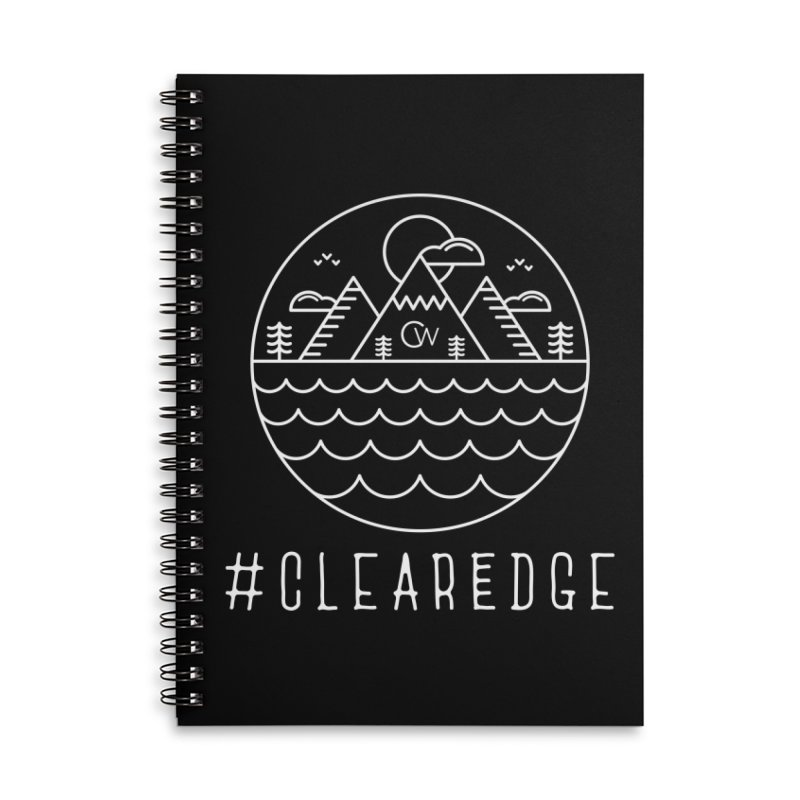 White Clear Edge Waves Dark Clothing  Accessories Lined Spiral Notebook by Clearwater Chiropractic Gear