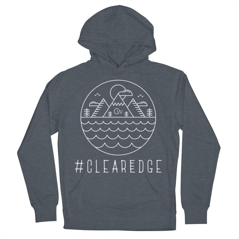White Clear Edge Waves Dark Clothing  Women's French Terry Pullover Hoody by Clearwater Chiropractic Gear