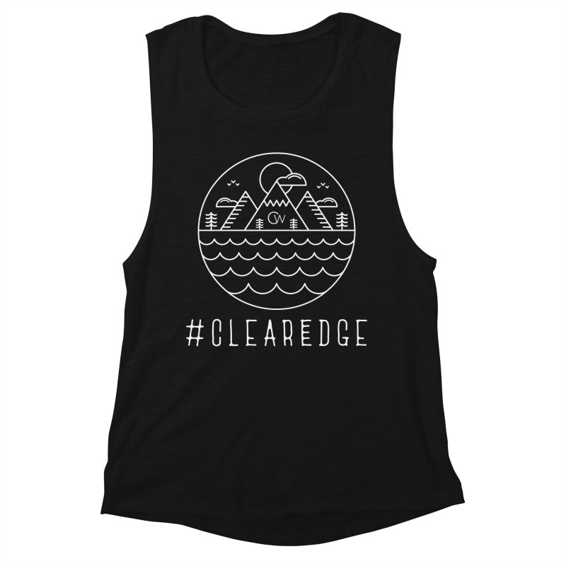 White Clear Edge Waves Dark Clothing  Women's Tank by Clearwater Chiropractic Gear