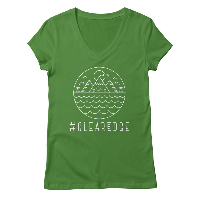 White Clear Edge Waves Dark Clothing  Women's Regular V-Neck by Clearwater Chiropractic Gear