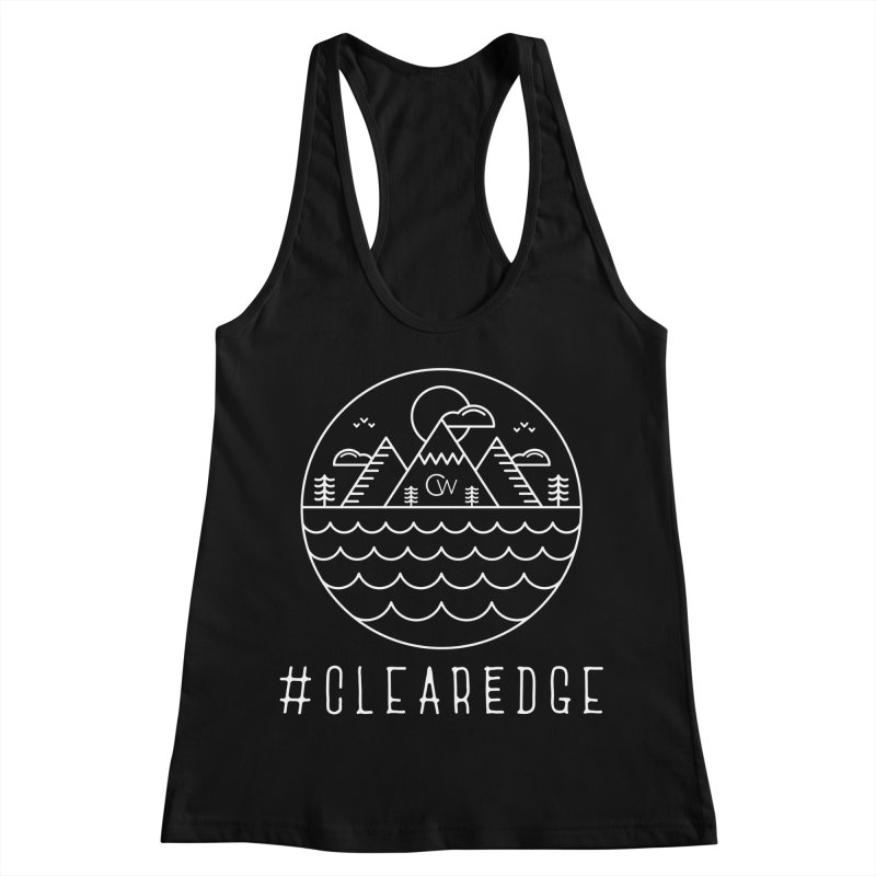 White Clear Edge Waves Dark Clothing  Women's Racerback Tank by Clearwater Chiropractic Gear