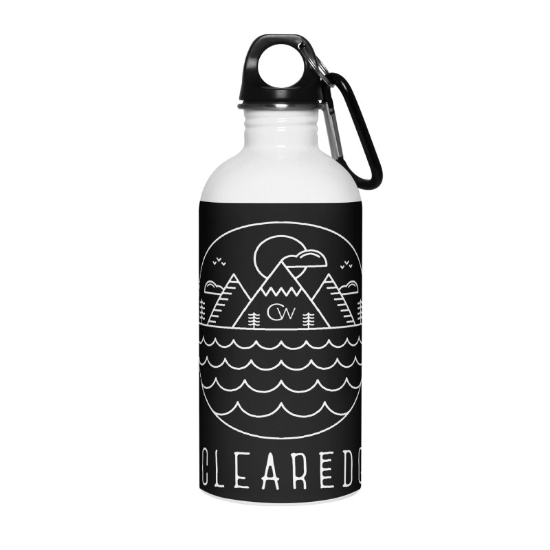White Clear Edge Waves Dark Clothing  Accessories Water Bottle by Clearwater Chiropractic Gear