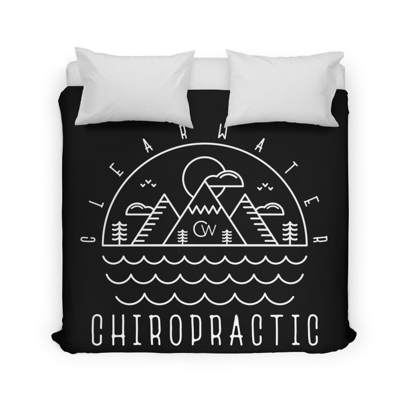 White Clearwater Chiro Waves Dark Clothing Home Duvet by Clearwater Chiropractic Gear