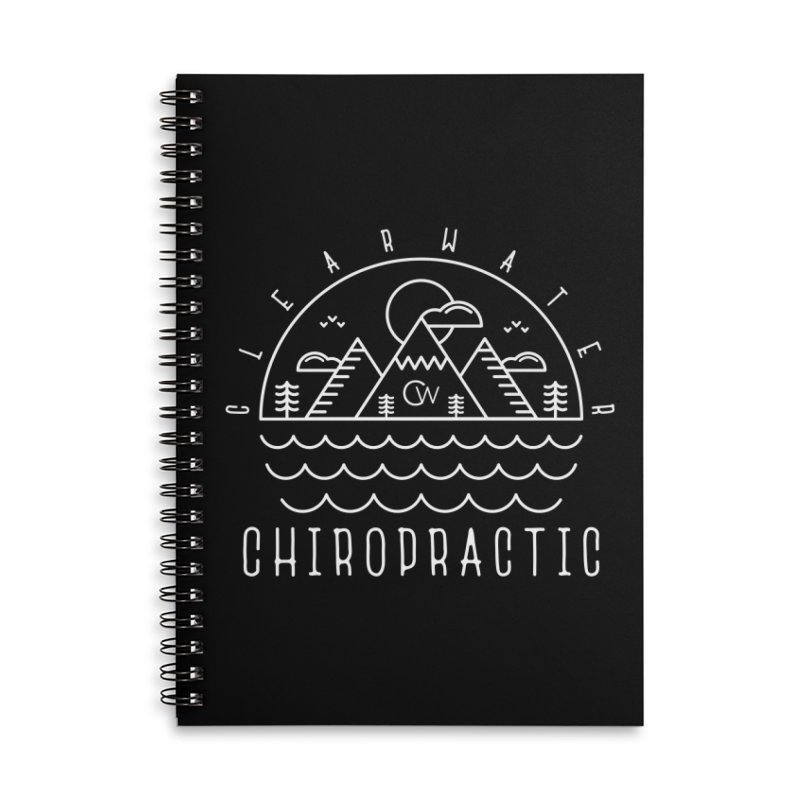 White Clearwater Chiro Waves Dark Clothing  Accessories Lined Spiral Notebook by Clearwater Chiropractic Gear