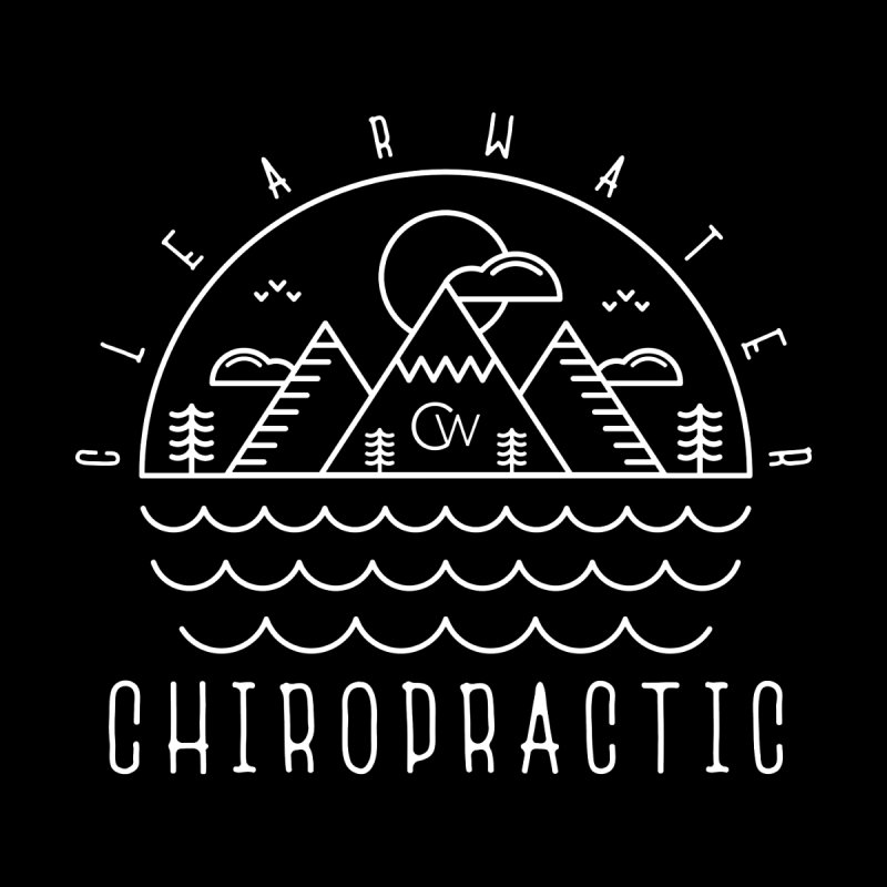 White Clearwater Chiro Waves Dark Clothing  by Clearwater Chiropractic Gear