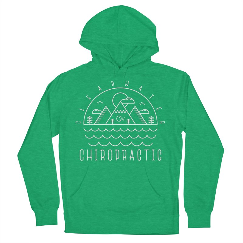 White Clearwater Chiro Waves Dark Clothing  Women's French Terry Pullover Hoody by Clearwater Chiropractic Gear