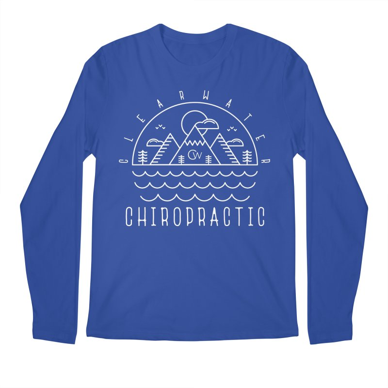 White Clearwater Chiro Waves Dark Clothing Men's Regular Longsleeve T-Shirt by Clearwater Chiropractic Gear