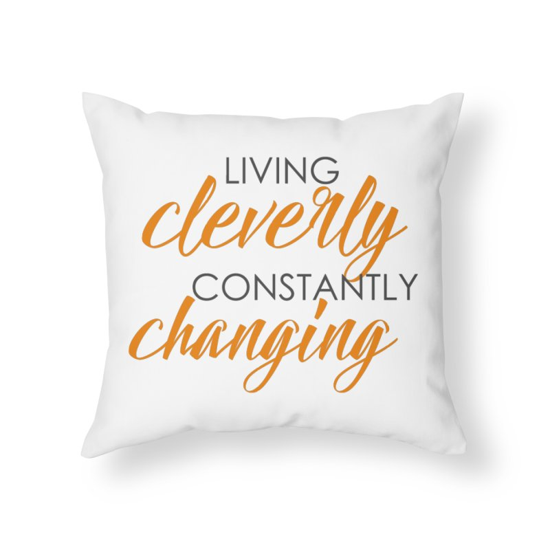 Living in Throw Pillow by Cleverly Changing Shop