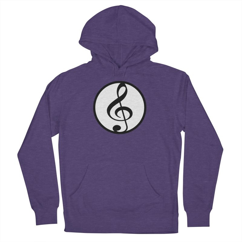 G-Clef in Women's French Terry Pullover Hoody Heather Purple by Cliche's Artist Shop