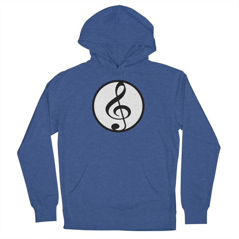 G-Clef in Men's French Terry Pullover Hoody Heather Royal by Cliche's Artist Shop