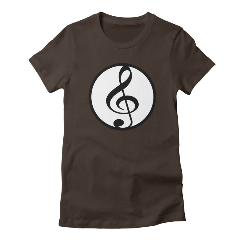 G-Clef in Women's Fitted T-Shirt Chocolate by Cliche's Artist Shop