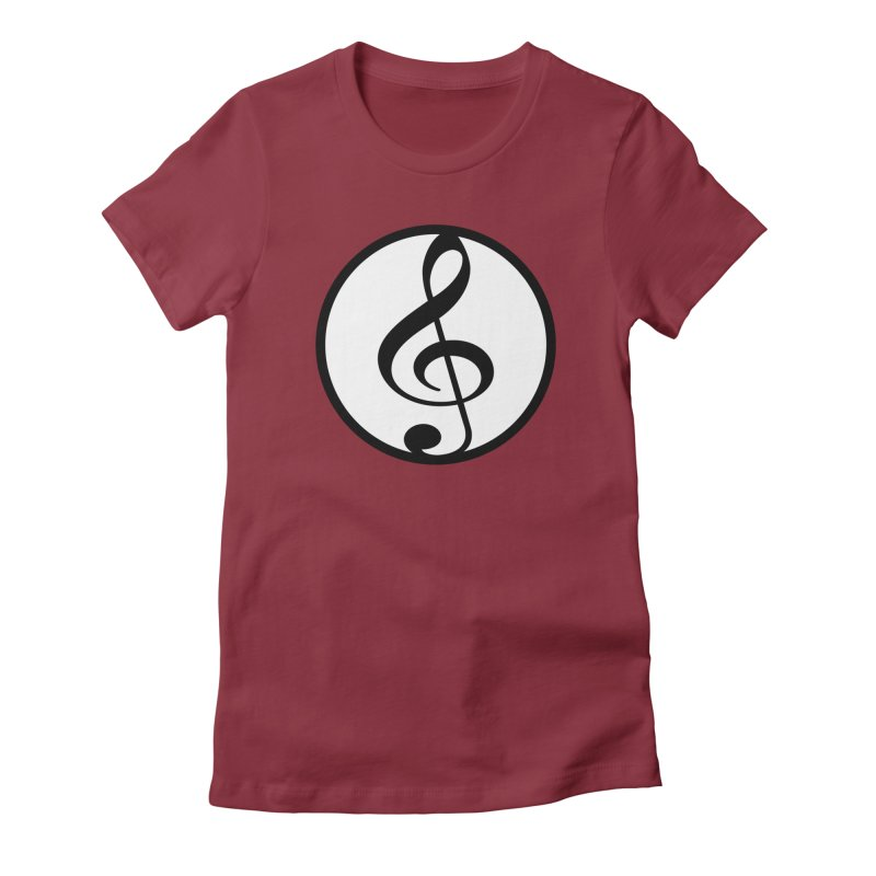 G-Clef in Women's Fitted T-Shirt Scarlet Red by Cliche's Artist Shop