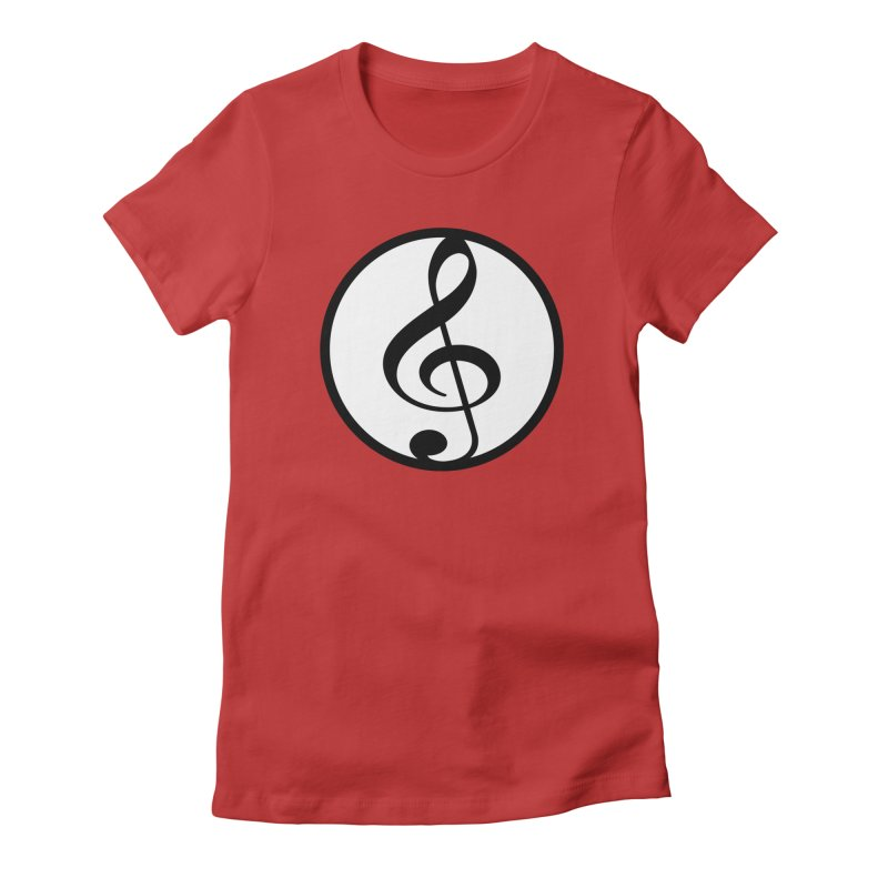 G-Clef in Women's Fitted T-Shirt Red by Cliche's Artist Shop