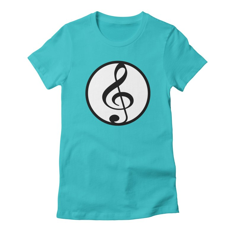G-Clef in Women's Fitted T-Shirt Pacific Blue by Cliche's Artist Shop