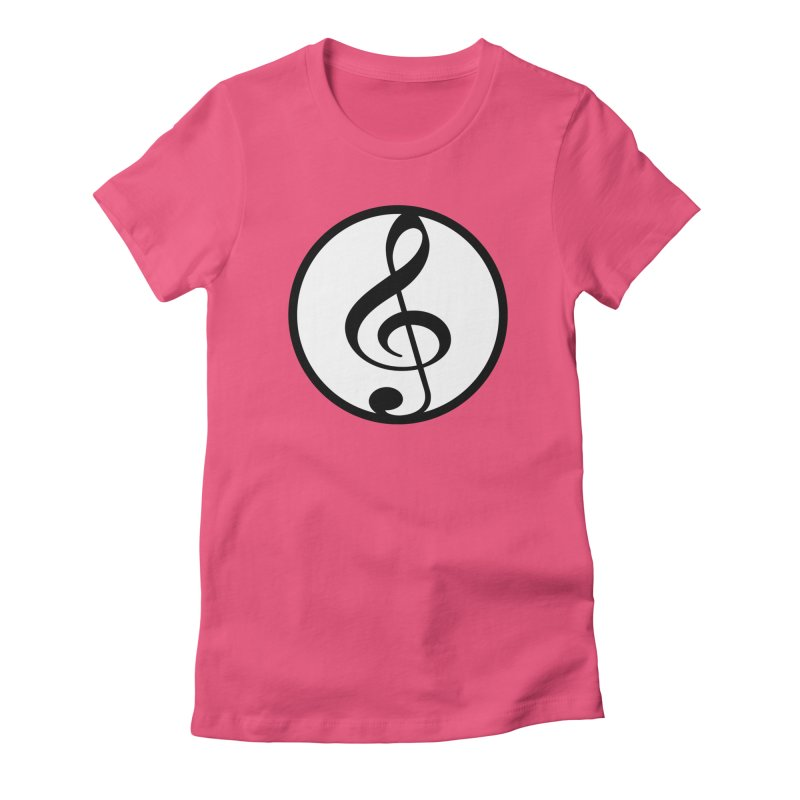 G-Clef in Women's Fitted T-Shirt Fuchsia by Cliche's Artist Shop