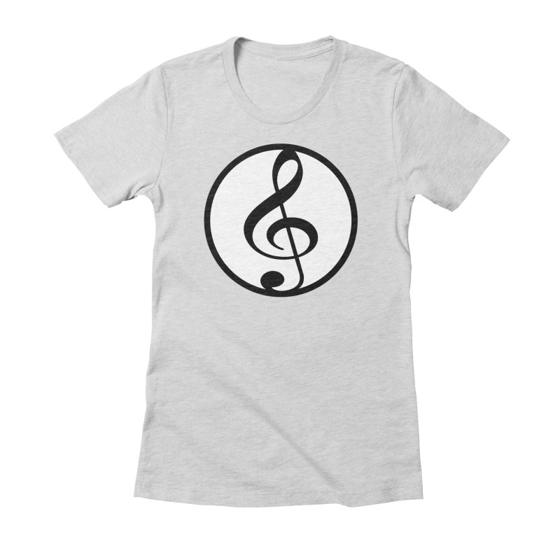 G-Clef in Women's Fitted T-Shirt Heather Grey by Cliche's Artist Shop