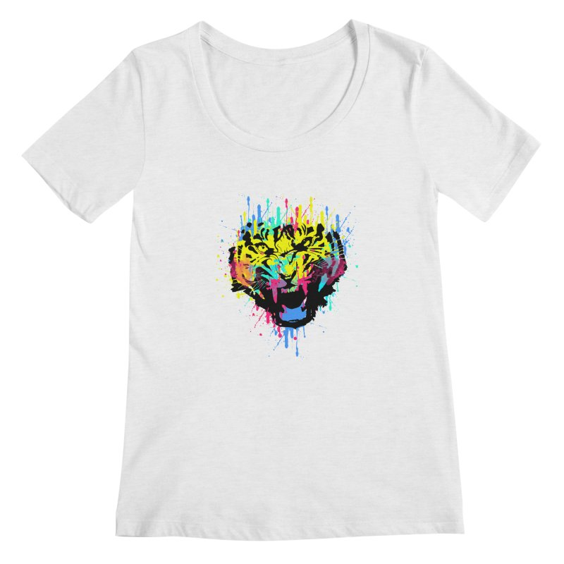 Tiger Dripping colors Women's Regular Scoop Neck by clingcling's Artist Shop