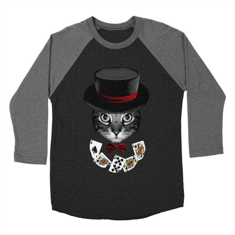 Illusionist cat Men's Baseball Triblend Longsleeve T-Shirt by clingcling's Artist Shop