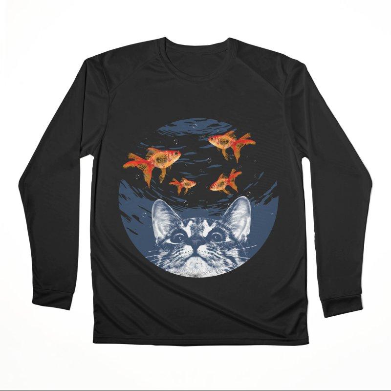 Cat & goldfish Men's Performance Longsleeve T-Shirt by clingcling's Artist Shop