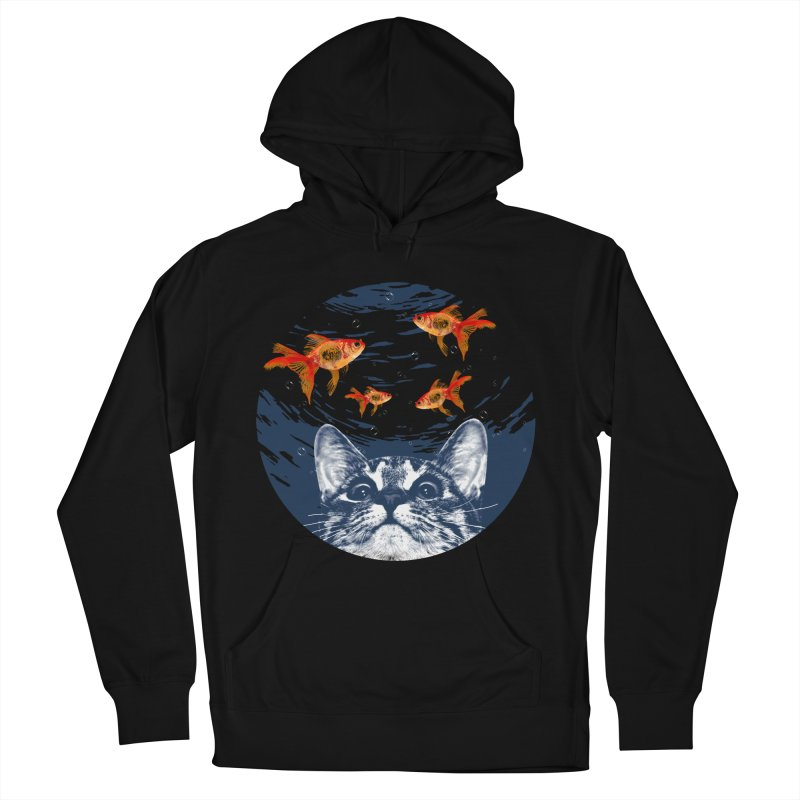 Cat & goldfish Men's French Terry Pullover Hoody by clingcling's Artist Shop